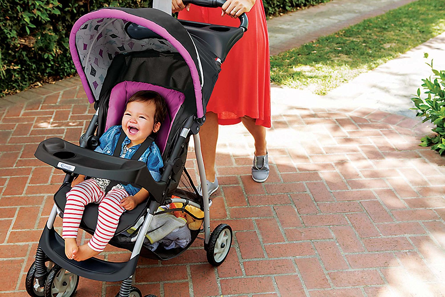 Little baby in Graco Click Connect Literider Stroller